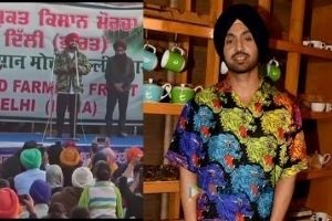 diljit dosanjh address farmers at singhu border